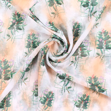 White Green Leaf Georgette Silk Fabric-15102